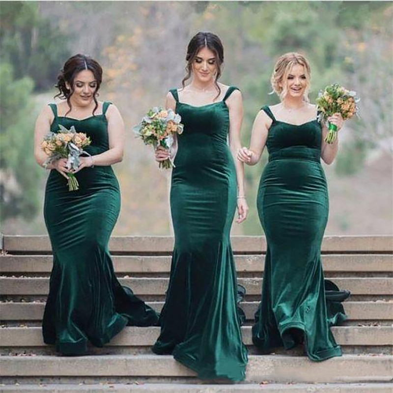 Madrina-Vestido verde de terciopelo, vestidos de dama de Honor, sirena, finos, invitados