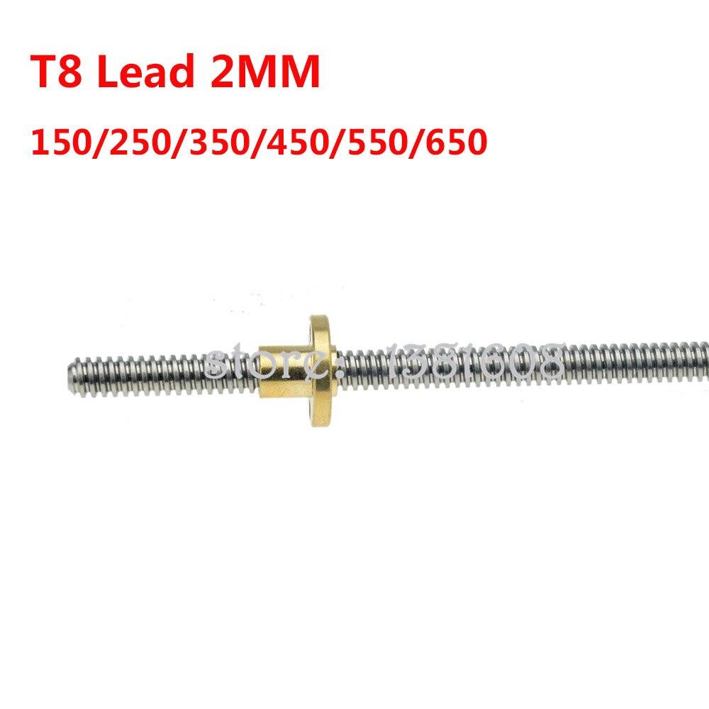 1 Pc Draadstang T8 Lood Schroef Pitch 2 Mm Lood 2 Mm Lengte 150/250/350/450/550/650 Mm Voor 3D Printer Onderdelen Accessoires