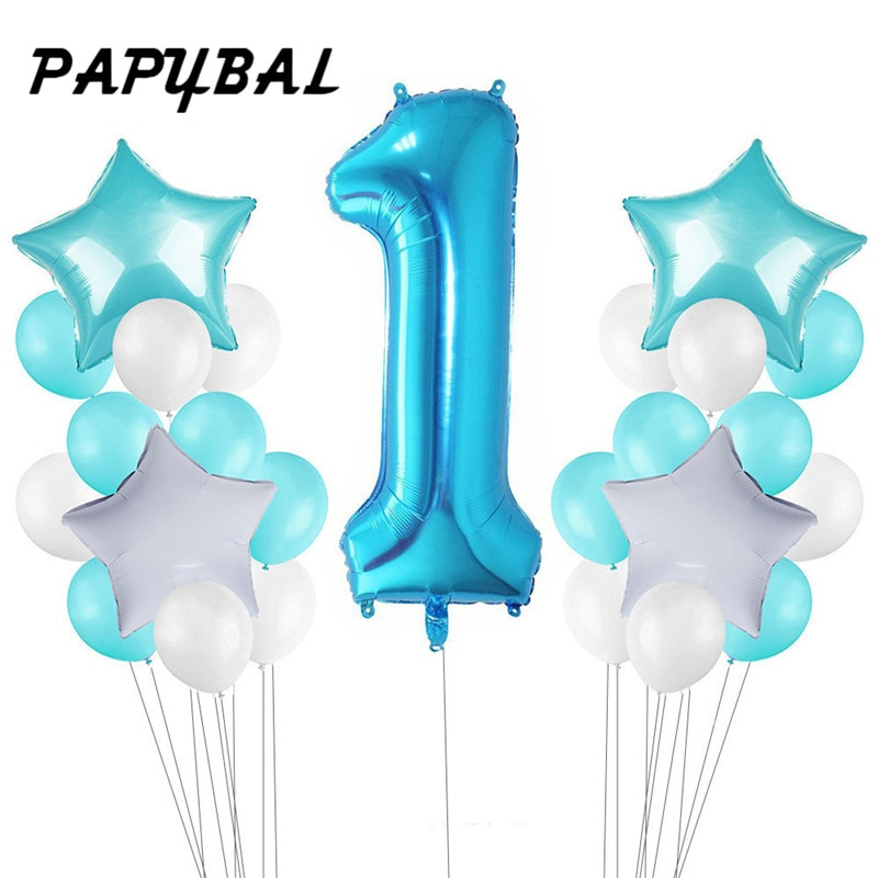 25 шт., Детские воздушные шары для первого дня рождения, голубые розовые воздушные шары из фольги, украшение для первого дня рождения, один год, день рождения, декор для детской вечеринки