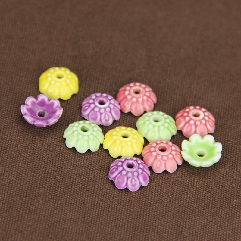 10pcs/lot Craft Flower Ceramic Bead Caps 4x10mm Decoration Fringe Tassel Caps Porcelain Spacer Charms Fit DIY Jewelry Making