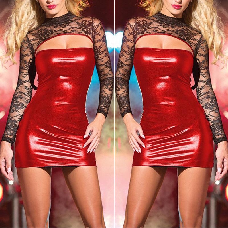 PU Leather Sexy Dress Women Bodycon Wet Look Slim Sheath Exotic Club Dance Wear Sexy Lingerie Dresses