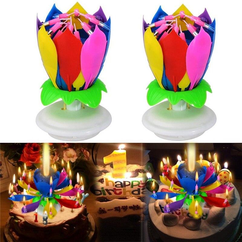 2 шт./компл., модные, удивительные, романтические, музыкальные, вращающиеся свечи лотоса с днем рождения, свадьбы, волшебные, блестящие, вечерние, подарок