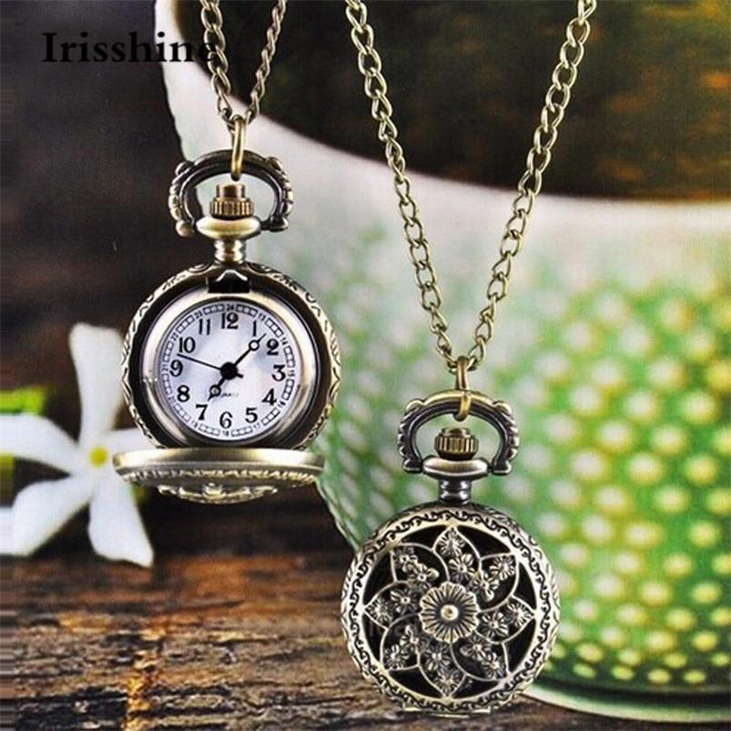 Reloj bowaiwen de moda novedosa Vintage Retro de cuarzo de bronce de bolsillo cadena colgante collar hombres mujeres relojes Mar3 p86