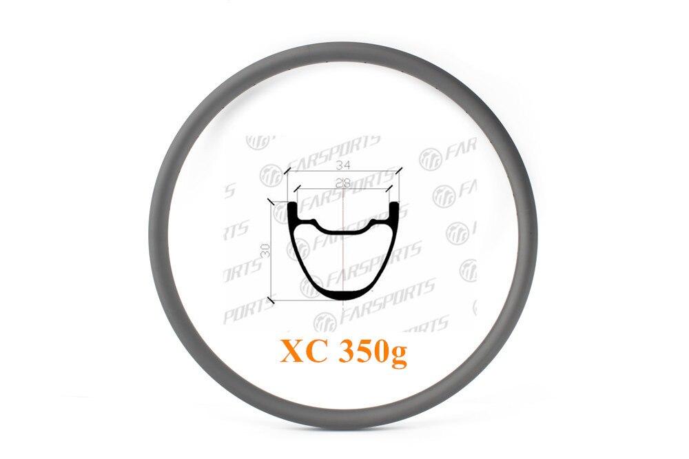 FSD29C/T-34-30UL 34Wx30D Ultralite XC 29er Hookless tubeless aro de carbono MTB clincher aro de bicicleta MTB 24/28/ 32 H broca buraco 350 g/pc