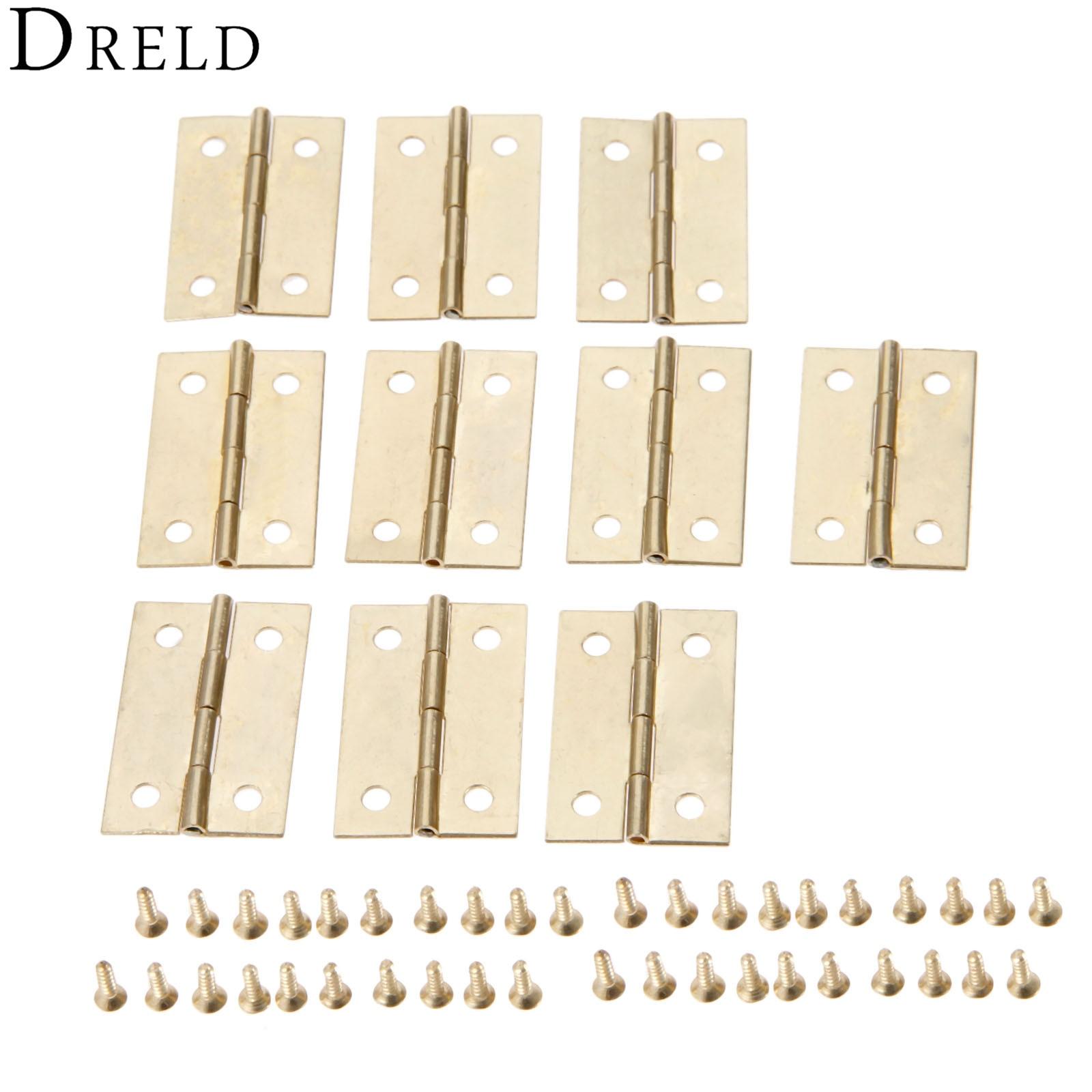 DRELD, 10 Uds., 35*22mm, bisagra para muebles, puerta del cajón de armario, bisagra pequeña, caja de madera para joyas, bisagra decorativa, accesorios para muebles