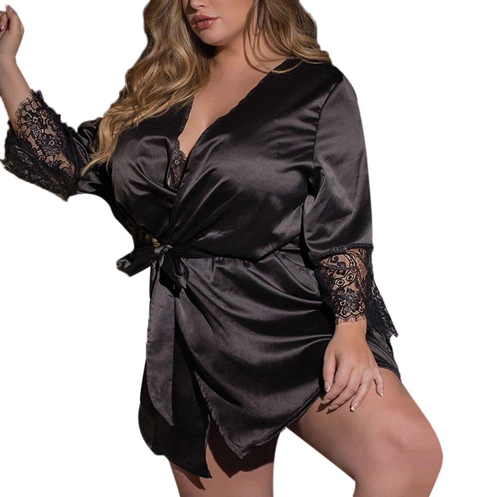 Camisón de talla grande, albornoz Sexy de seda para mujer, vestido de Kimono, picardías de encaje, lencería, bata de baño, ropa de noche # y20