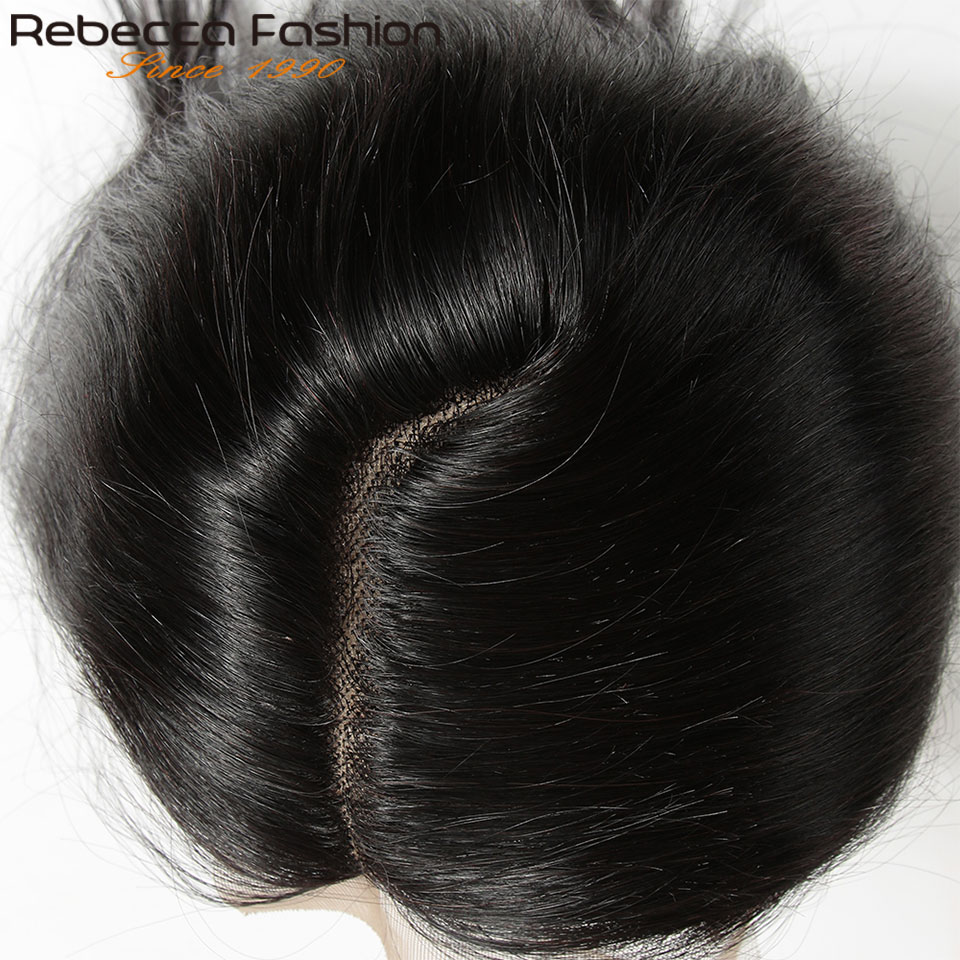 Rebecca Remy Hair 5*6 Lace Closure L Deep Part Peruvian Straight Human With Baby 10-20 Inch