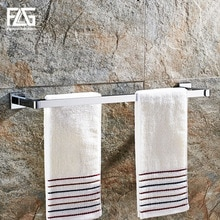FLG Towel Bars Chrome Metal 2 Rail Towel Shelf Hanger Holder Wall Mounted Towel Rack Bathroom Accessories