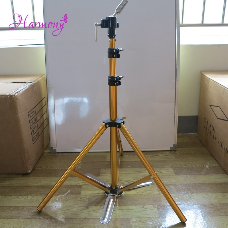 1pcs blue color hair salon adjustable aluminum tripod stand mannequin training head holder wig stand clamp 1pcs Golden Color Hair Salon Adjustable Aluminum Tripod Stand Mannequin Training Head Holder Wig Stand Clamp