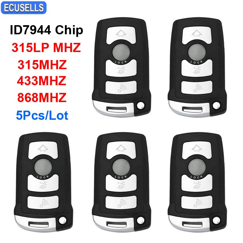 5 unidades por lote, llave de coche inteligente con mando a distancia con 4 botones, 315LP MHZ, 315MHZ, 433MHZ, 868MHZ, Chip ID46/ID7944 para BMW CAS1 serie 7 E65 E66 HU92, sin cortar