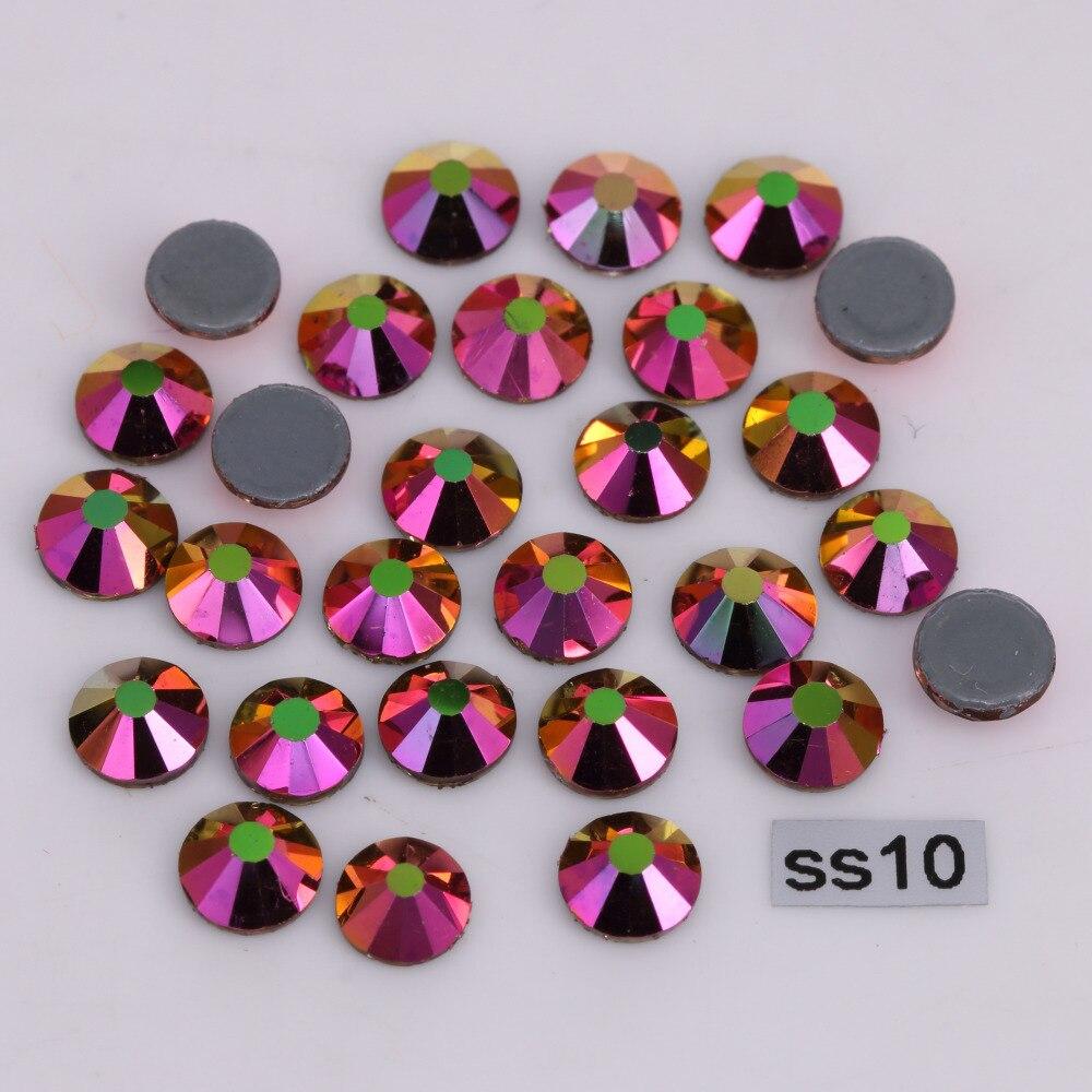 1440 pçs/lote, alta Qualidade ss10 (2.7-2.9mm) Do Arco-Íris Rose-Ouro Strass Hotfix/Ferro Em Apartamento Cristais de volta