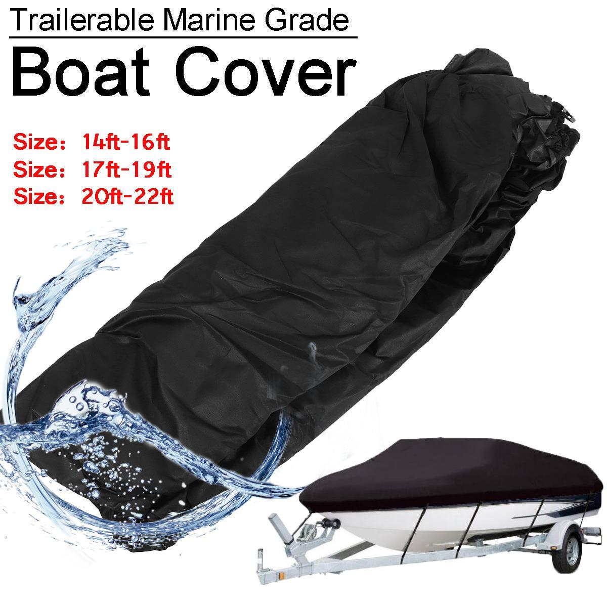 600D Heavy Duty Trailerable Tampa Do Barco Navio Barco À Prova D Água Anti-UV Toldo Pesca Lanchas Barco de Esqui Capa Acessório