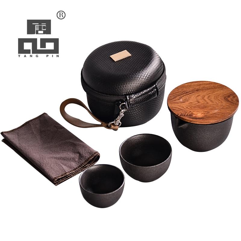 TANGPIN-أباريق شاي خزفية gaiwan ، طقم شاي صيني محمول للسفر مع حقيبة سفر