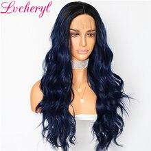 Perruques Lace Front wig synthétiques pour femmes   Perruques de fête Ombre et tendance, perruques bleues à racines foncées, perruques Cosplay naturelles ondulées pour maquillage