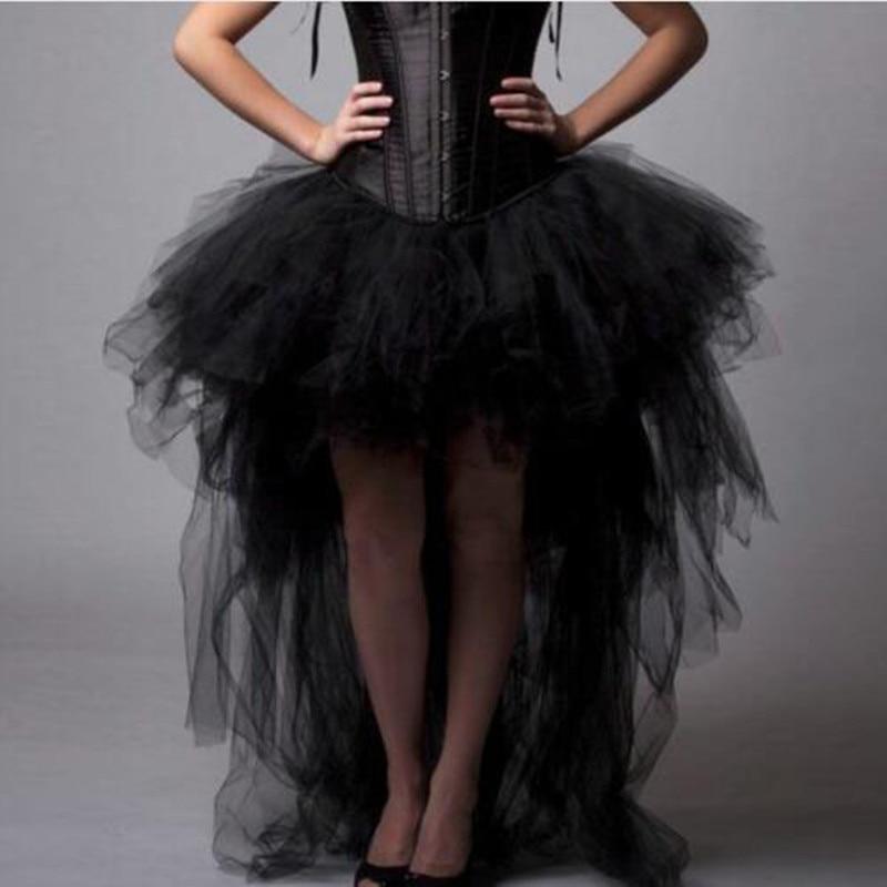 Fashion Black Hi Lo Tulle Skirt Gothic Style Draped Asymmetrical Maxi Long Skirts Adult Tutu Party Skirts Custom Made Plus Size
