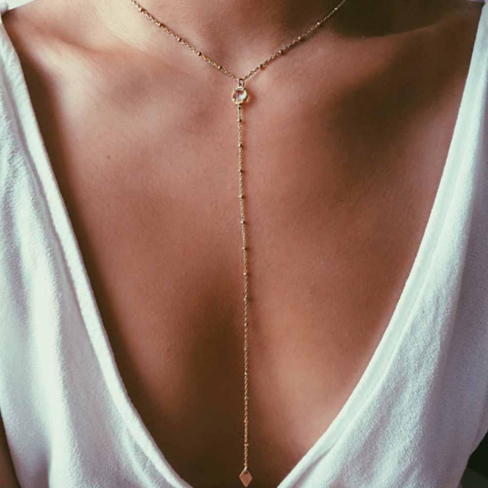 IPARAM verano playa collar relleno de oro, Y collar de capas, CZ encanto collar de las mujeres