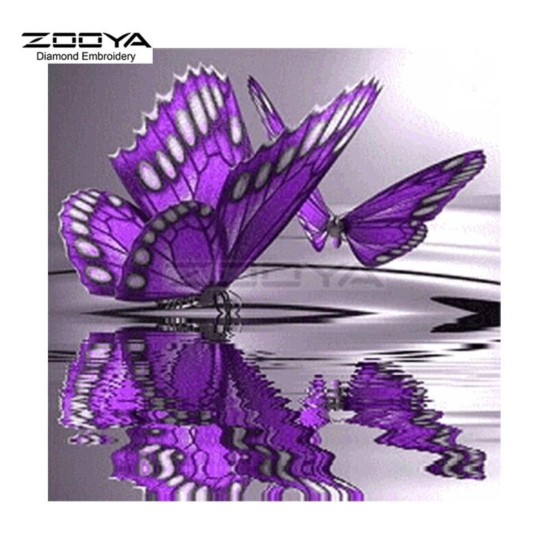 ZOOYA, pintura de diamante bordado, mariposa púrpura, pintura al agua, pintura de diamante, punto de cruz, mosaico de diamantes de imitación BJ1552