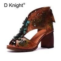 summer new female high heels sandals retro genuine leather women sandals ethnic flowers peep toe pumps shoes woman plus size 42