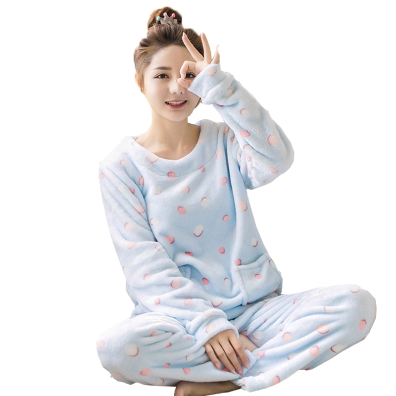 Adults Autumn and Winter Women Pyjamas Sets Thick Warm pajamas Suit Flannel Long Sleeve Female Cartoon Animal Pants Sleepwear