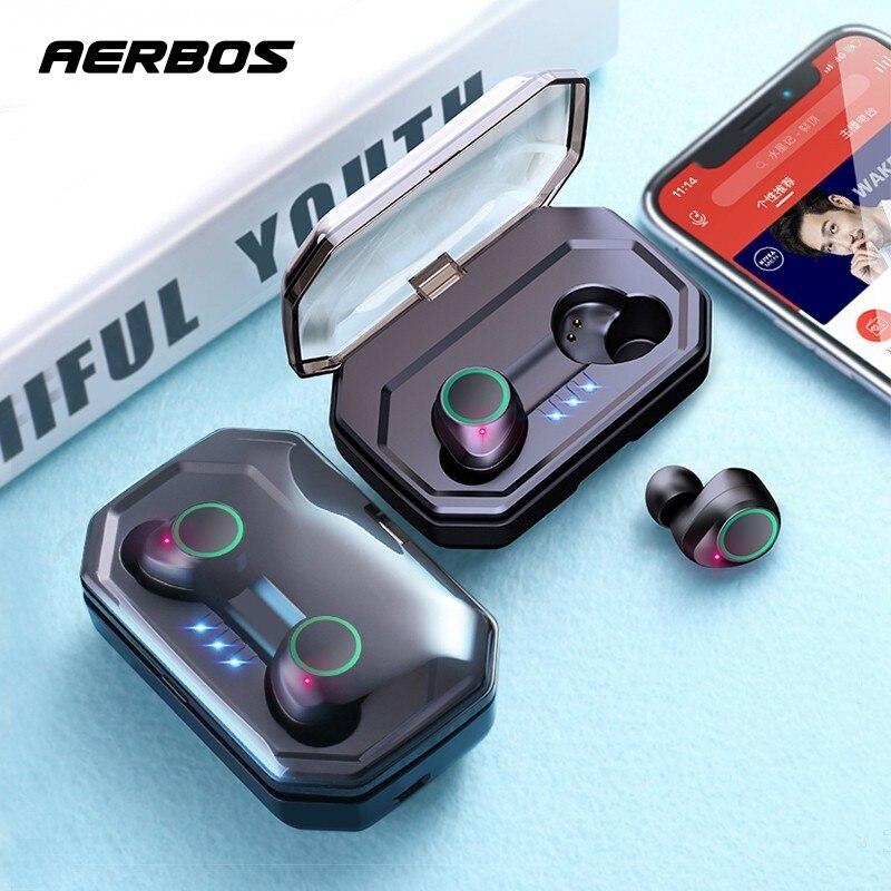 Fone de ouvido sem fio aerbos bluetooth tws 5.0, à prova d'água com bateria de 3000 mah, hifi estéreo