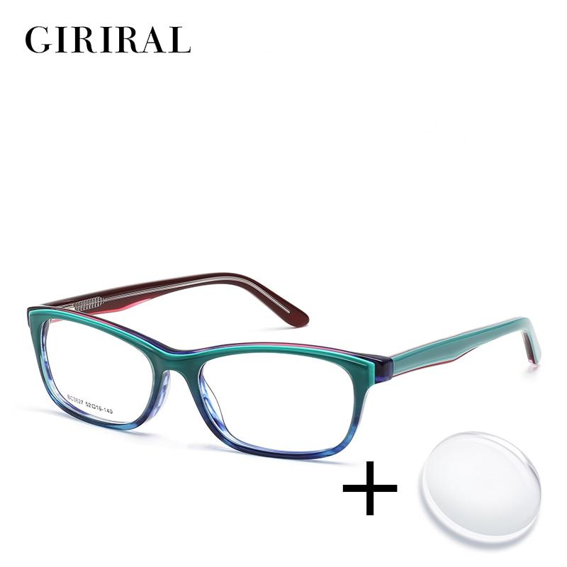 Acetate women prescription glasses vintage myopia reading computer colored transparent sight optical