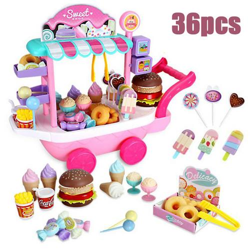 20 33 38cm simulation mini trolley girl candy car ice cream shop supermarket children play toy ice cream cart 36pcs Mini Ice Cream Candy Trolley House Play Educational Toy Super Funny Mini Icecream Car Toys Kitchen Toys For Children