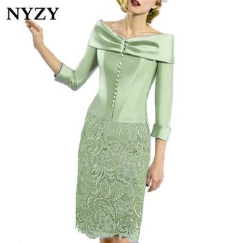 Атласное Болеро NYZY C168M с вырезом «Лодочка», 2 предмета кружева мятного, зеленого цвета, Vestido Robe, коктейльные платья для свадебной вечеринки, о...