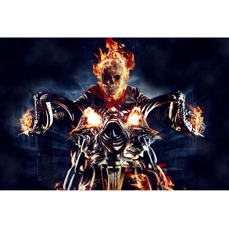 Diy diamante pintura Ghost Rider diamante bordado 5d diamante imágenes mosaico completo, diamantes de imitación cuadrados Y0981