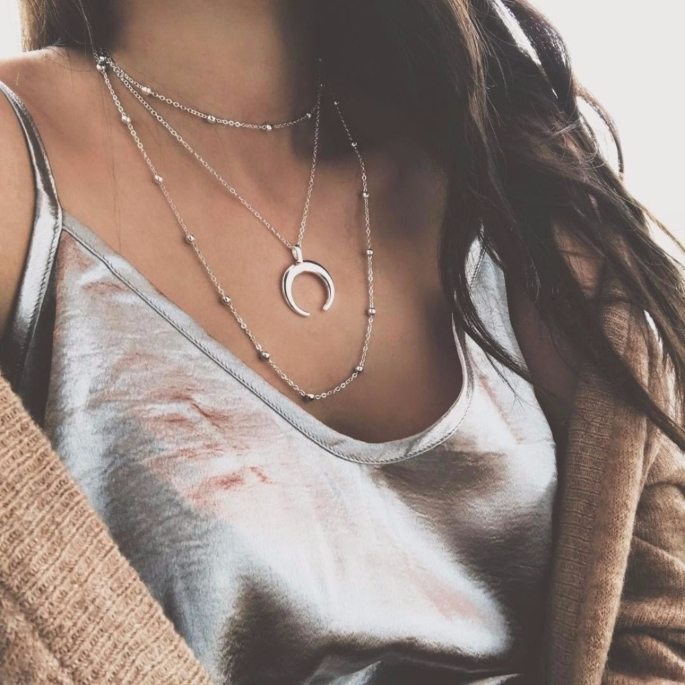 FAIRYWOO 2020 mujer Boho Classic Moon Choker Delica cobre dorado Triple cuernos collar multicapas collar gargantilla