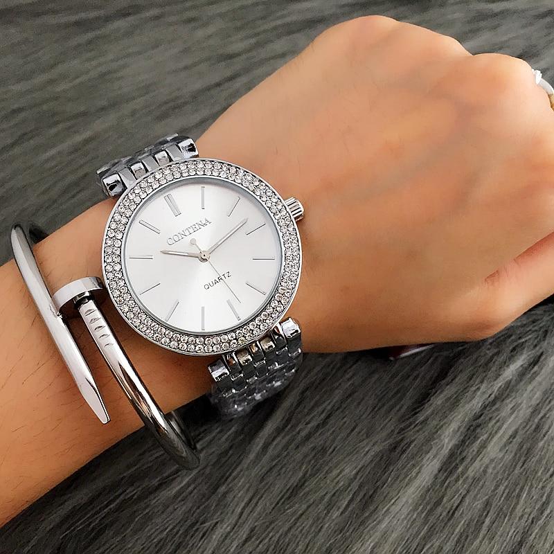 CONTENA модные роскошные серебряные часы женские наручные часы со стразами женские часы из нержавеющей стали часы reloj mujer