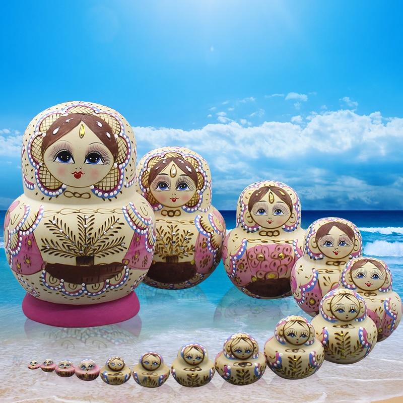 15pcs/set Matryoshka Doll  Hand-painted Russian Nest Doll Wooden Toys Handicrafts Education Toys Baby Birthday Kids
