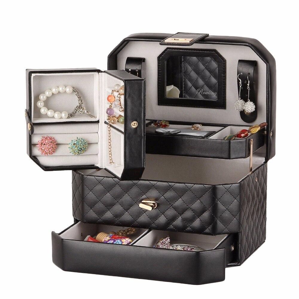 Caja de joyería portátil organizador de cuero de PU con Estuche De Viaje pendientes de chicas caja de joyería espejo baratija titular pulsera de cuero