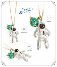 Intemporel merveille émail astronaute et planète collier pendentif Bijoux fantaisie punk robe coréenne japon vente sassy sweet sale 4425