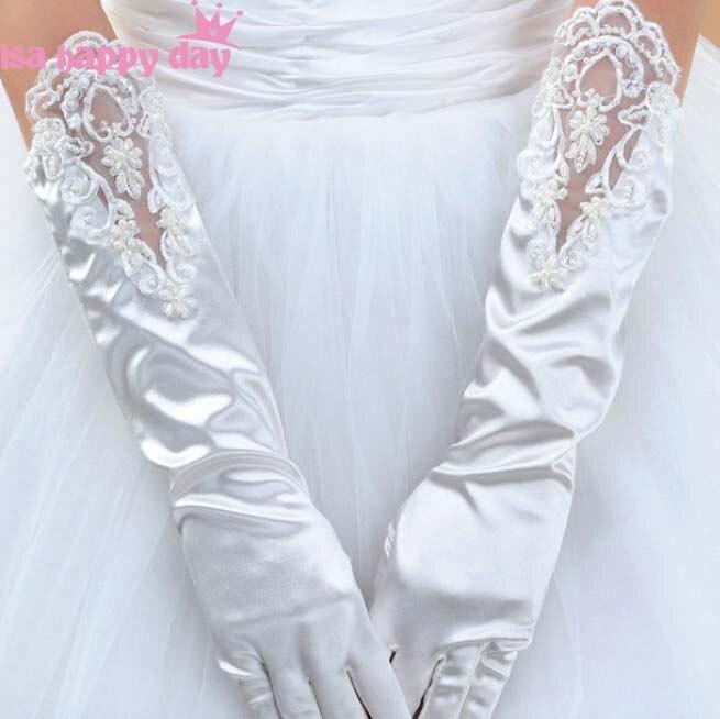 Guantes largos de novia de encaje luva de noiva, guantes de novia con dedo marfil blanco negro, accesorios de boda, guantes de novia