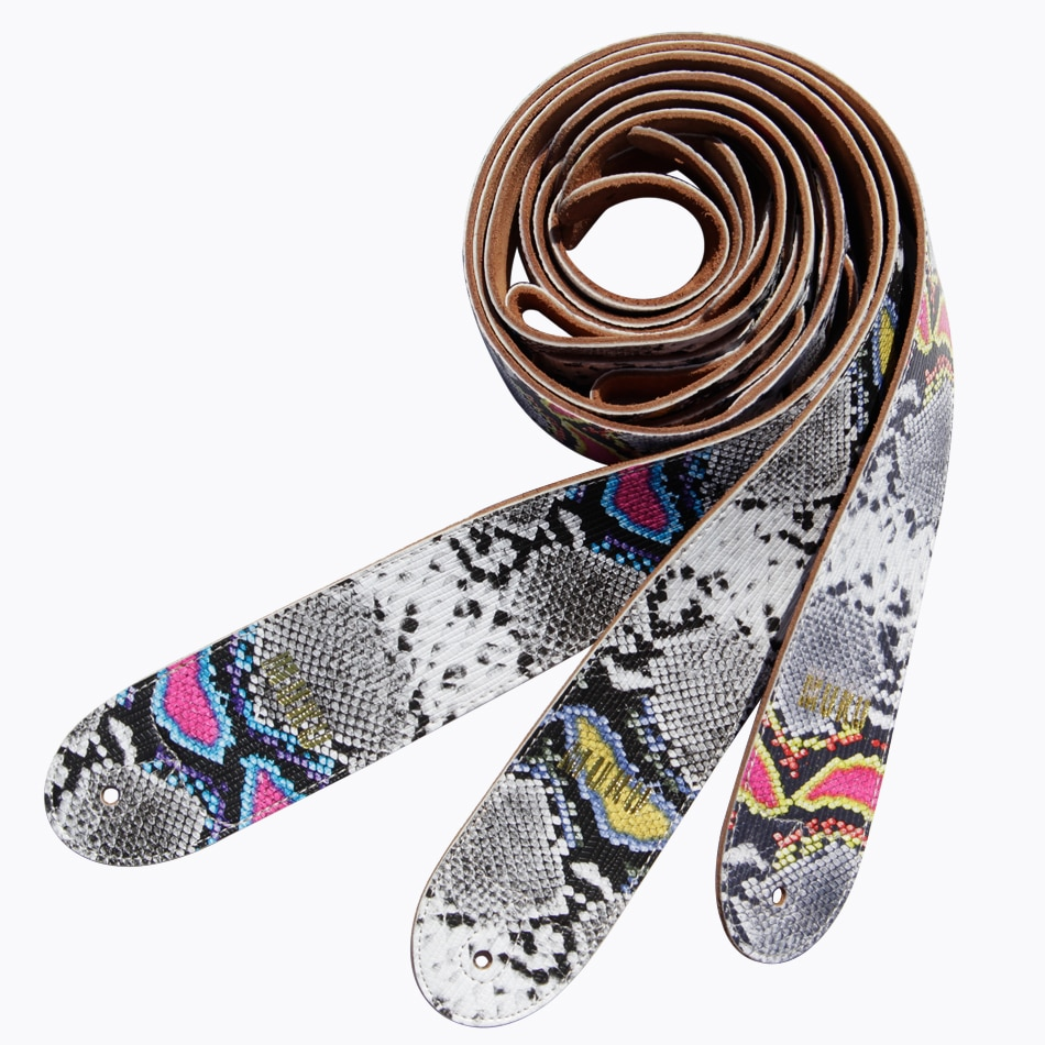 MUKU NEW ARRIVAL soft and beautiful snake pattern straps 100% handmade guitar electric guitar bass straps crafted Wide 2.95