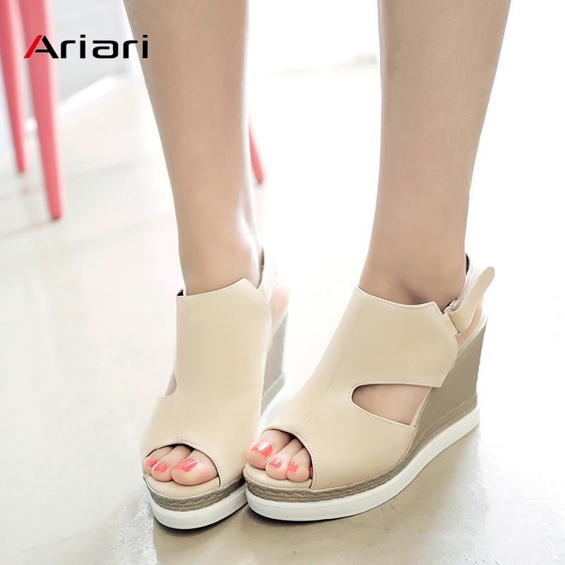 Sandalias de mujer, plataforma de imitación de cuña de cáñamo, zapatos de punta abierta, sandalias de mujer, tacones altos, hebilla de gancho y lazo, sandalias de gran tamaño 34-43