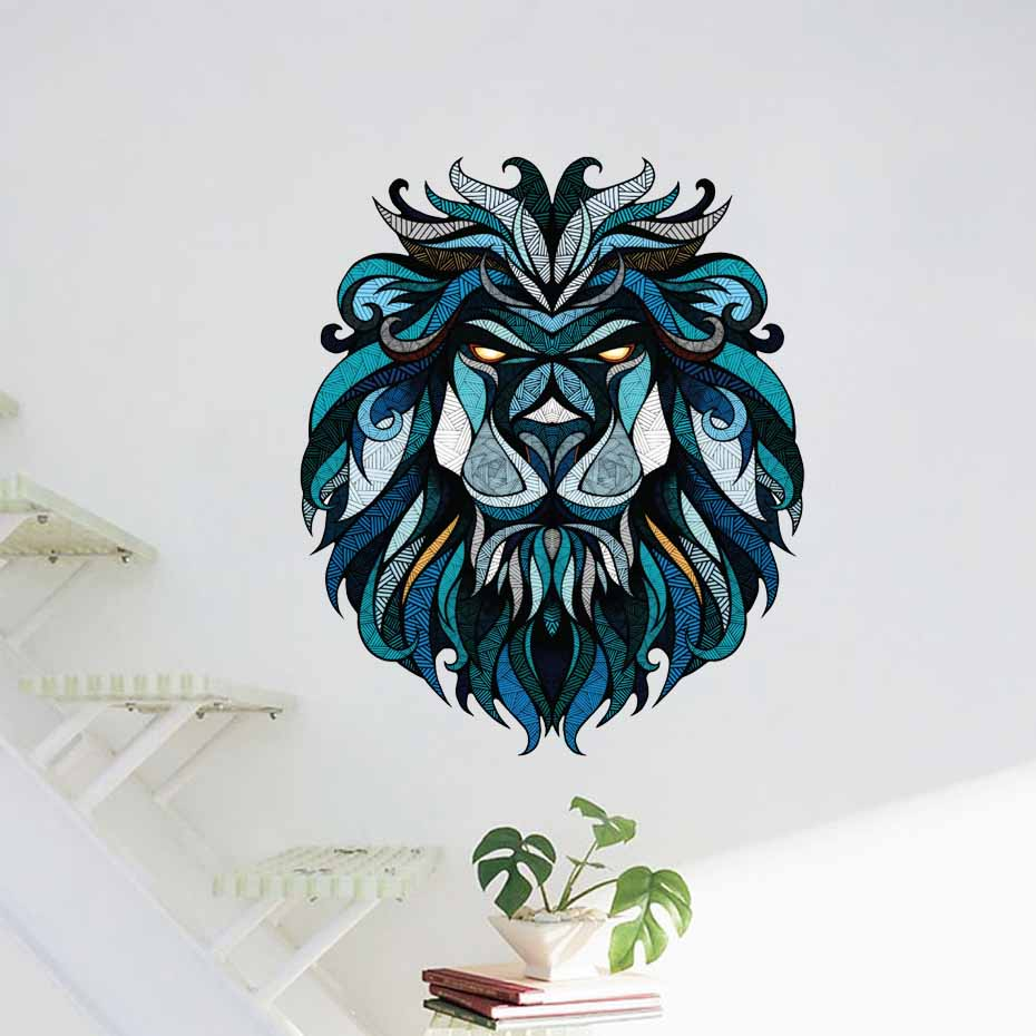 Bleu tête de Lion Stickers muraux Art mural chambre Stickers salon décor vinyle amovible auto-adhésif papier peint décoration de la maison