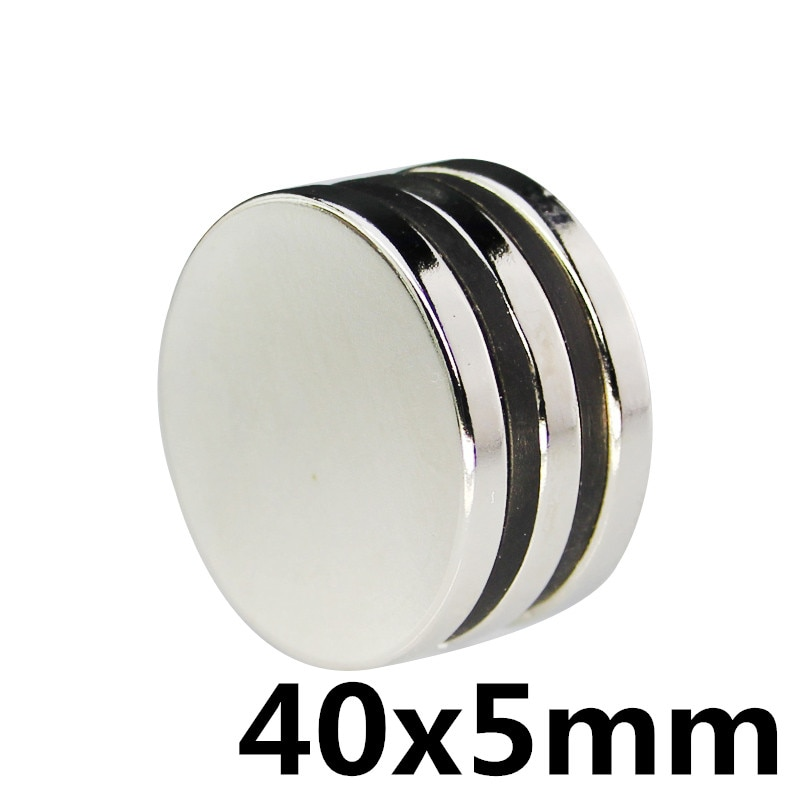 1pc 40x5 40*5 em massa redonda ndfeb neodímio disco ímãs dia40mm x 5mm n35 poderoso forte ímã de terra rara 40*5mm