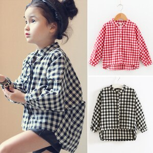 2020 kids clothes children blouse New Autumn Item Girl Plaid Fashion Shirt Two Colors