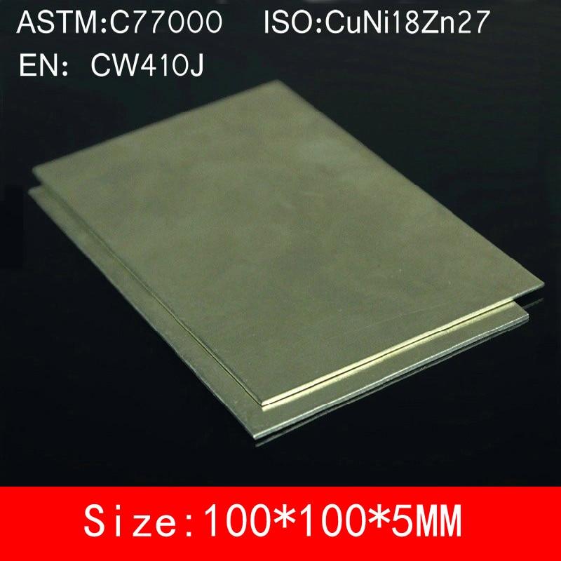 100*100*5mm Cupronickel Koper Vel Plaat Board van C77000 CuNi18Zn27 CW410J NS107 BZn18-26 legering ISO Gecertificeerd