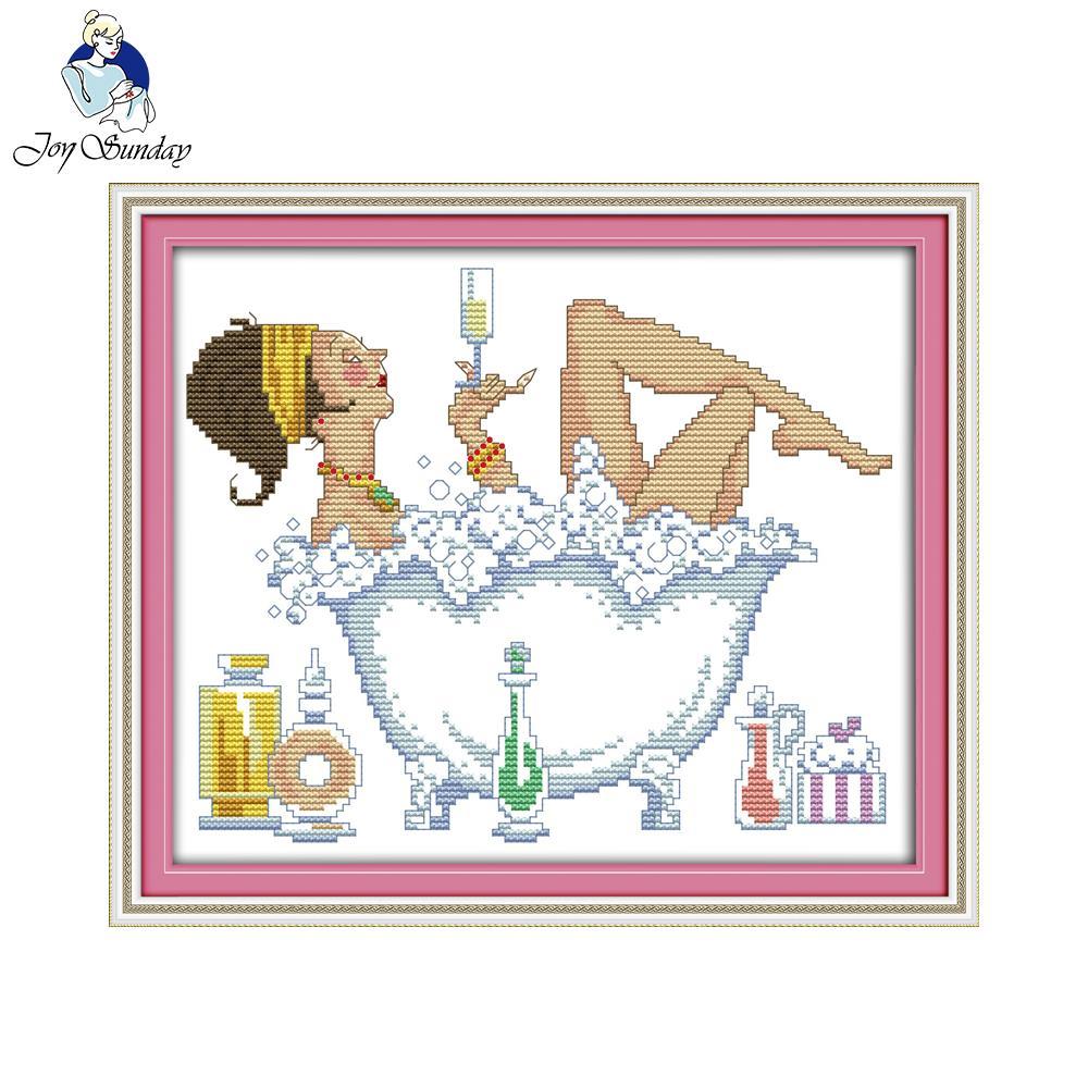 Alegria domingo figura estilo banho beleza ponto cruz pintura da sala de estar impressão precisa quarto decoração diy needlepiont