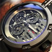 Montres de sport NAVIFORCE pour hommes avec bracelet en cuir étanche montre-bracelet à Quartz analogique créative pour hommes avec horloge Relogio Masculino