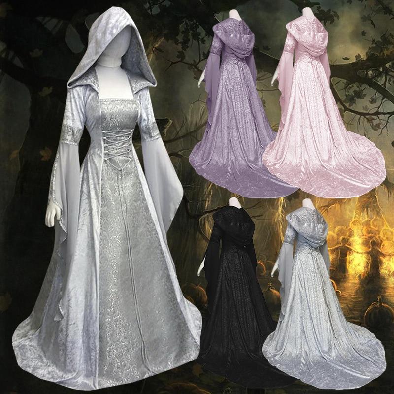 Recién llegado, disfraz Medieval renacentista, vestido victoriano bohemio de princesa, vestido con capucha Vintage para mujer, vestido gótico, disfraz de Halloween