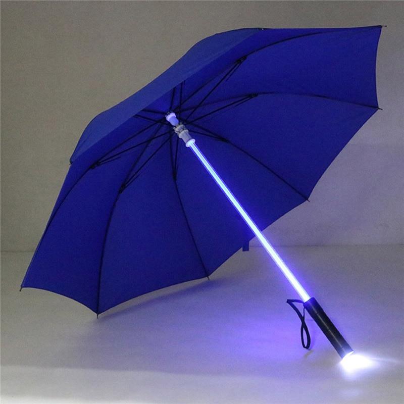 Plastic Red Hiking Rain Transparent Led Umbrella Men Women Flashing on Night Light Holder Roller Waterproof Windproof Umbrellas enlarge