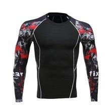 Ajouter nouveau 2017 séchage rapide fitness vêtements à la mode fleur bras hommes à manches longues T-shirt pour porter des corsets