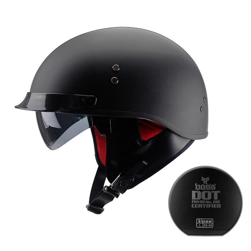 Black Vintage Motorcycle Helmet Open Face Dot Approved Half Retro Moto Casco Capacete Motociclistas