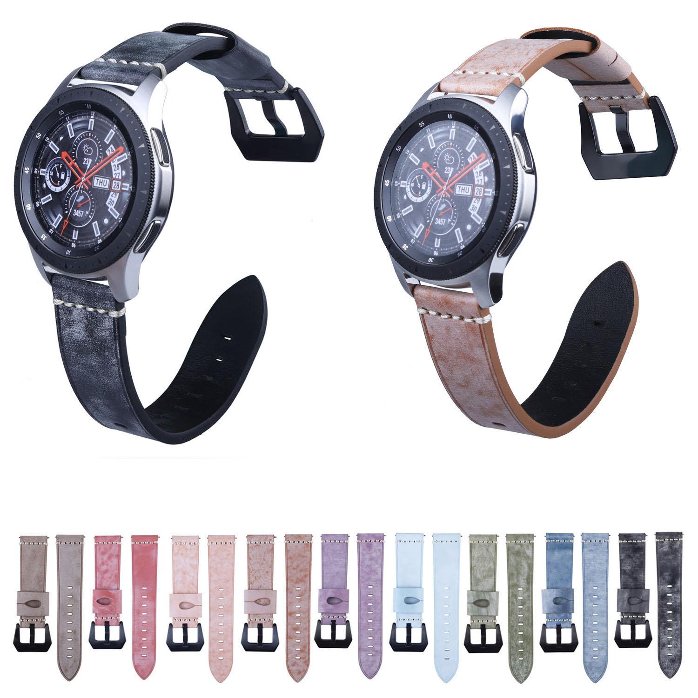 22mm Correa Retro de cuero genuino para el reloj de la galaxia de Samsung 46mm Gear S3 Frontier pulsera de reloj clásica pulsera Amazfit cinturón