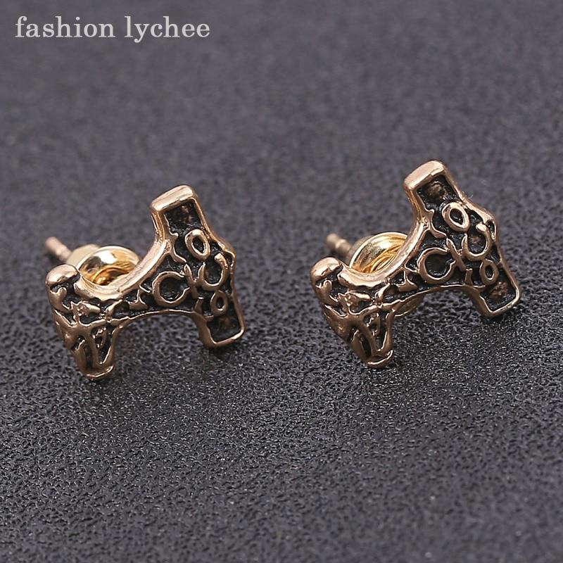 fashion lychee Retro Design Punk Hammer Mjolnir Stud Earrings For Women Trendy Jewelry Christmas Gift
