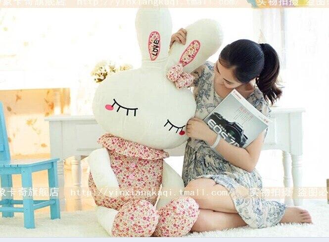 Animal de peluche de 120 cm lindo amor conejo de peluche de juguete rosa o púrpura Floral amor conejo muñeca suave regalo w2226