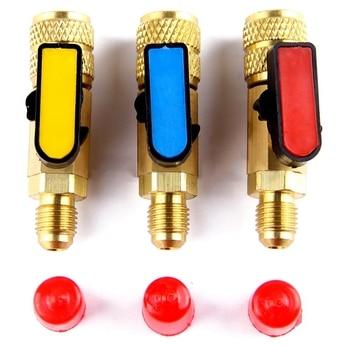 3Pcs/Lot Hvac Tools Gauges New 3 Color R410A Valves Refrigerant Adapter Ac Charging Hoses Brass Straight Ball Valves